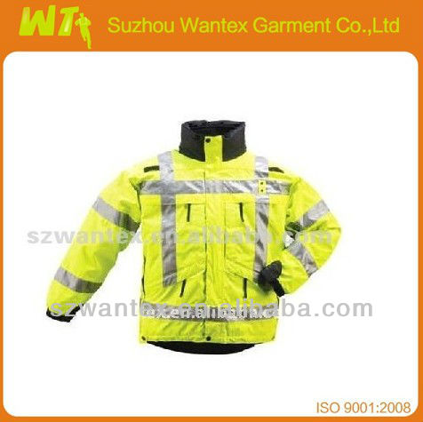 Fluorescent Yellow High Visibility Safety Winter Jacket