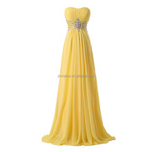 Elegant Yellow Chiffon Long Evening Gowns 2016 Sweetheart Lace-up Back Prom Dress Crystals Vestidos De Fiesta Largos Elegantes