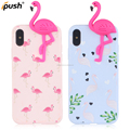 For Apple iPhone X Matte TPU Cell Phone Case , 3D Relief Flamingo Mobile Phone Shell for iPhone 10