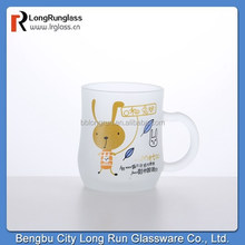 LongRun manufacturer 8oz novelty design Fiesta gift frosted glass tea mugs with lid