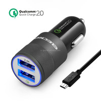 USB Car Charger, [Qualcomm Certified] Eleckey Quick Charge 2.0 30W Dual USB Ports Rapid Car Charger for compatiable devices