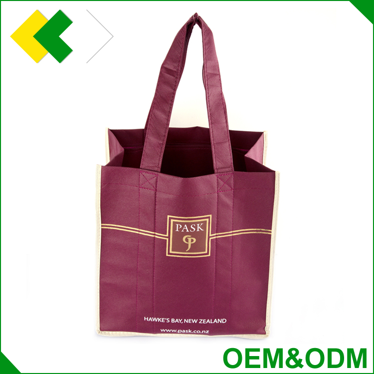 Factory foldable price elegant packing gift tote wine bottle bag fabric non woven pvc wine bag