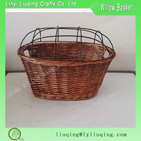 Wholesale Wicker Dog Pet Bicycle Basket with Wire Dome