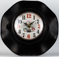 BLACK TABLE TOP DECORATIVE METAL CLOCK