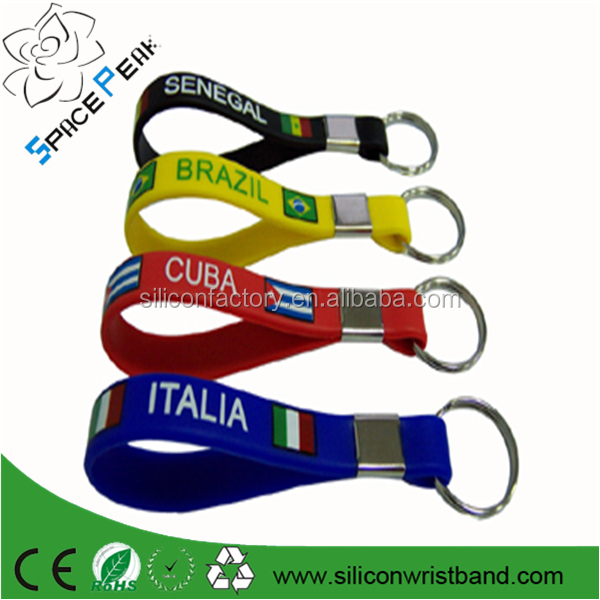 wholesale custom Debossed silicone keychain personalized rubber key ring world cup