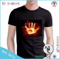 sound activated led tshirt el led tshirt led t-shirt for export