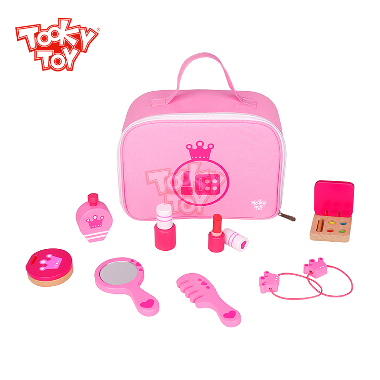 New product pink girls' wooden make up set