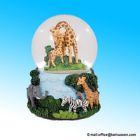Giraffes Zebras and Elephants 100MM Music Water Globe