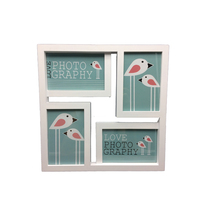 Batch custom four photos small puzzle collage plastic white picture frame for baby happy birthday photo