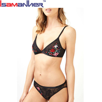 Stylish cotton spandex printing mature ladies sexy panty and bra sets