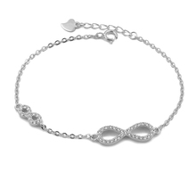 BZA2-004 infinity bracelets with cubic zircon sample deisgn silver jewelry