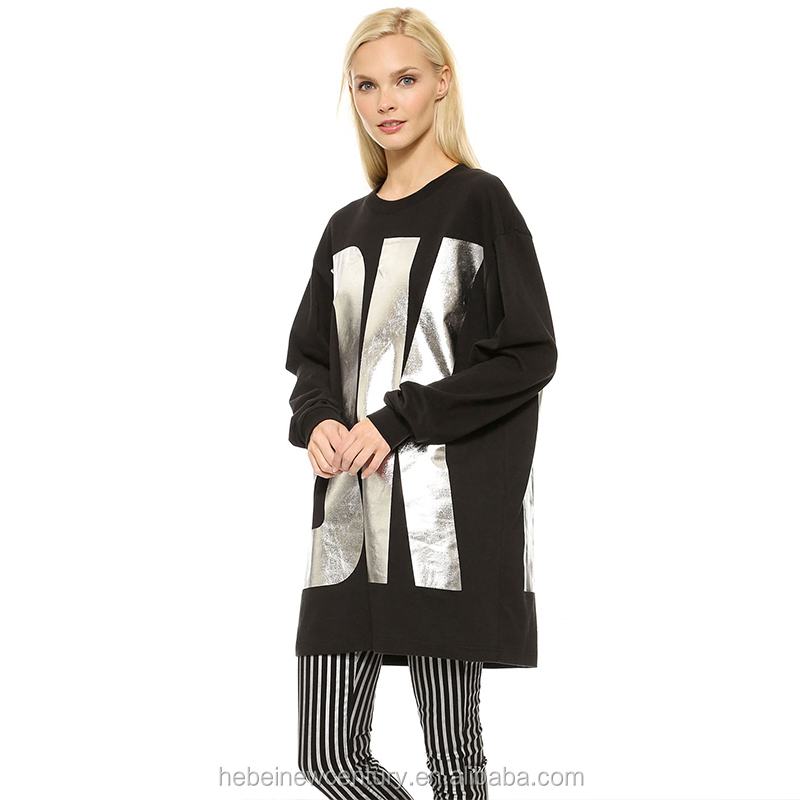 Large Letters Before And After The Hot Silver Printing Bat Sleeve Movement Female Jumper Who Long Woollen Sweater