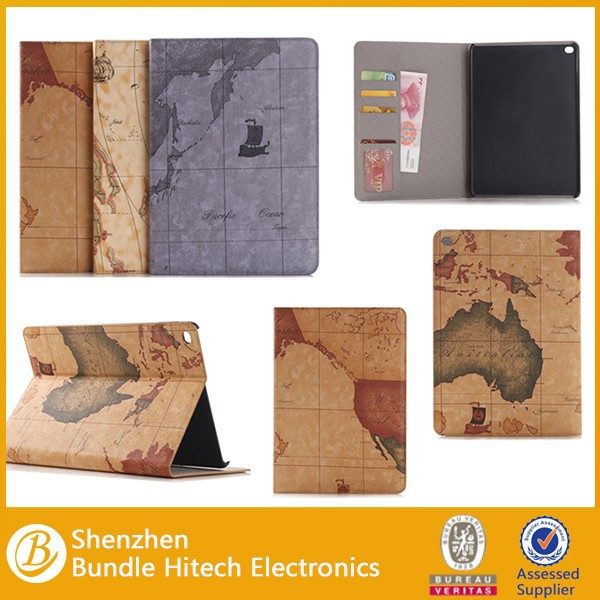 Wholesale map pattern PU Leather cover for ipad air 2,for ipad 6 leather case