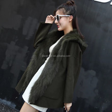 Fashion High Quality Real Fox Fur Lined Cashmere Hood Women Coats
