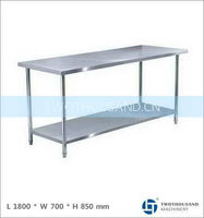Stainless Steel Outdoor Work Bench - AISI 201, No Splashback, 2 Tiers, TT-BC302F