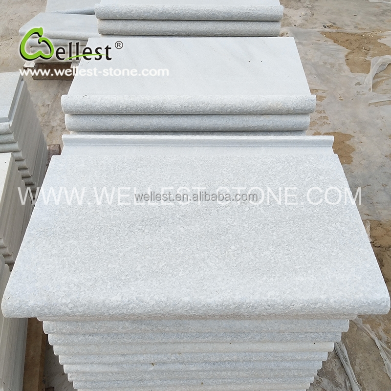 Pure white quartzite stone tile stair stepping tile pool coping tile