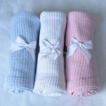 Solid Color Portable Plain 100% cotton baby cellular blanket