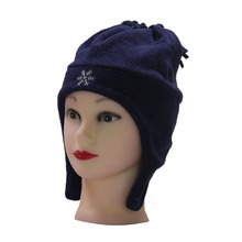 hot sale earflap winter hat type polar fleece hat navy blue kids fedora hat