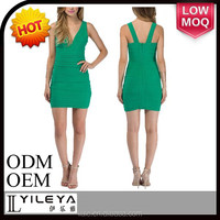 European short sexy emerald green evening dress