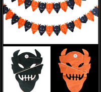 Holloween The devil Paper Garlands Banner ,The skeleton and Pumpkin garland