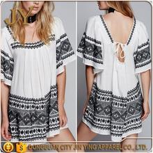 The fashion embroider new pattern on boho dresses women casual dresses