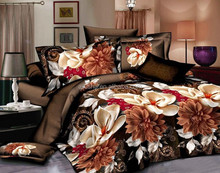 chinese wedding king size 3d brown floral bed sheet printed fabric