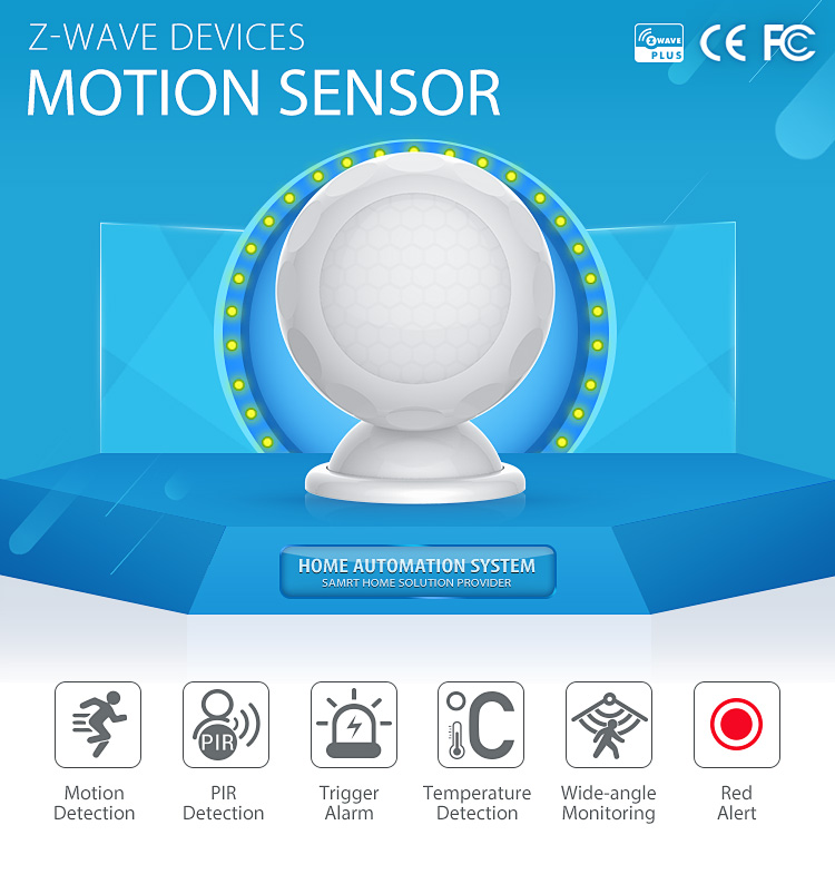 Home security Z-wave motion sensor battery supplied motion detector