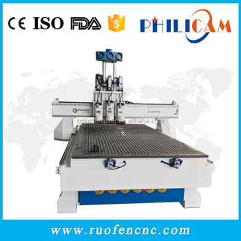 Philicam cnc router 1325 with 3 spindles in Italy for engraving wood