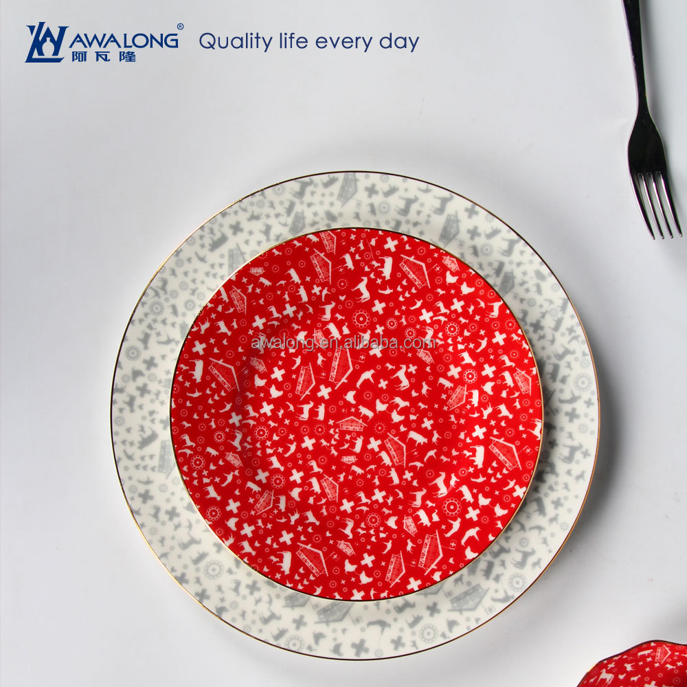 Round Shape Red And White Pure Color Fine Bone China Custom Printed Dinner Plates, English Porcelain Tableware