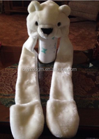 Cute Polar Bear Plush Animal Hat Warm 3in1 Function Hat/Ear Muffs & Hand Warmers