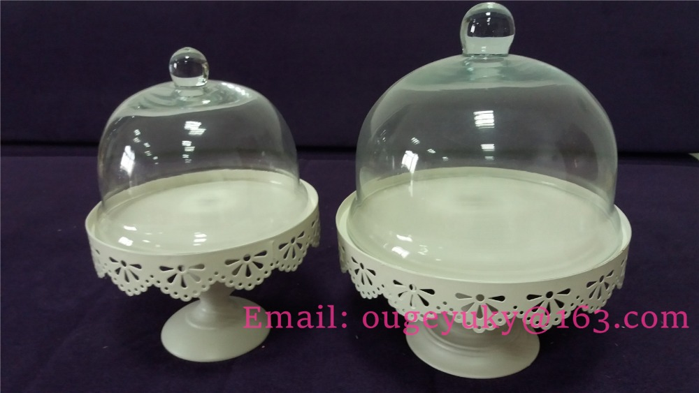 Round metal cake stand with glass dome wedding cake stand wholesale