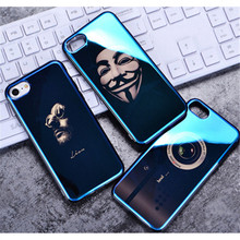 Fashionable Graceful Ultra Thin Blue Laser IMD TUP Men Phone Case For iphone 8 7 6 plus