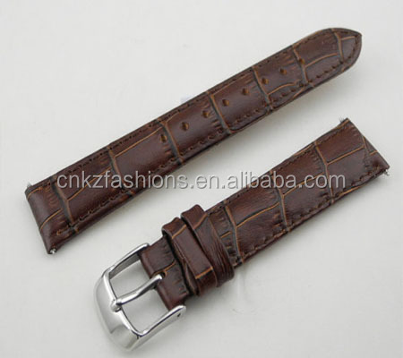 Brown Genuine Calf Leather Crocodile <strong>Grain</strong> 20mm leather watch straps wholesale