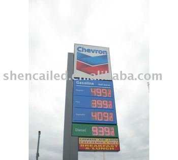 outdoor led gas station price display /diesel price sign