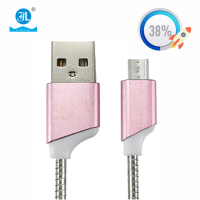 New arrival luxury stainless steel spring elastic aluminium alloy fast charging micro USB charger cable for android iphone