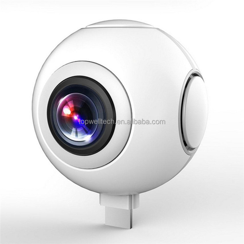 720 Degree Dual Spherical Lens Panorama Camera with 2K 3D VR Panorama HD Capture Only For Android Smartphones