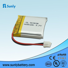 803030 3.7v small Rechargeable Lithium Polymer Battery 650mAh