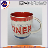 Top quality and fast delivery stoneware cheap bulk ceramic coffee/tea mug with printing the english words