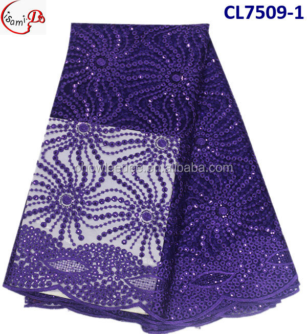 CL7509-1-purple New style hot sale African pattern sequinse embroideried net lace material for making party dress
