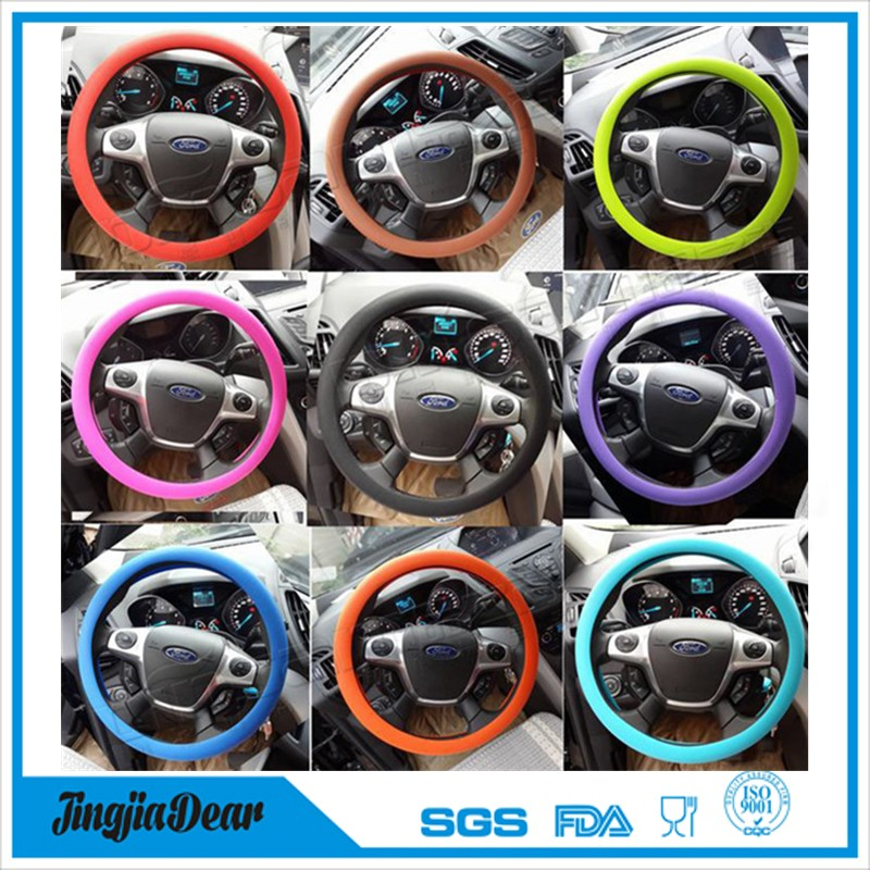 Leather texture shrink silicone car steering wheel cover
