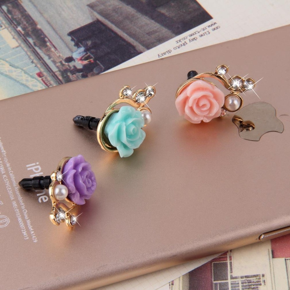Romantic Rose Flower 3D Crystal Bead Pearl Anti Dust Plug Mobile Phone Dust Plug Sweet Girls