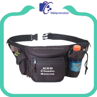 Wellpromotion sport zipper waist pouch bag with bottle holder