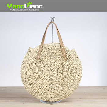 Wholesale Fashion Design Paper Straw Bags Round Crochet Bags