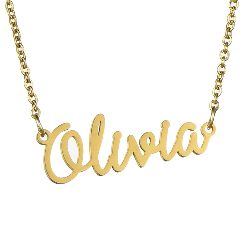 AP22376 wholesale Nicole Olivia DIY gold name plate necklace <strong>jewelry</strong>