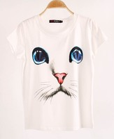 Casual Wholesale New design cat top plain short sleeves white tshirt