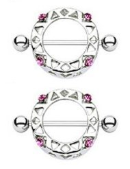 Fashion Pink Gems Nipple Ring Round Nipple Shield Magnetic nipple jewelry