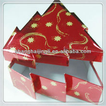 Red paper Christmas gift box with Chritmas tree shape
