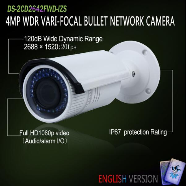 In Stock DS-2CD2642FWD-IZS Original English Oversea Version 4MP WDR Vari-focal Bullet IP Camera POE <strong>security</strong> P2P Onvif H265 Brac