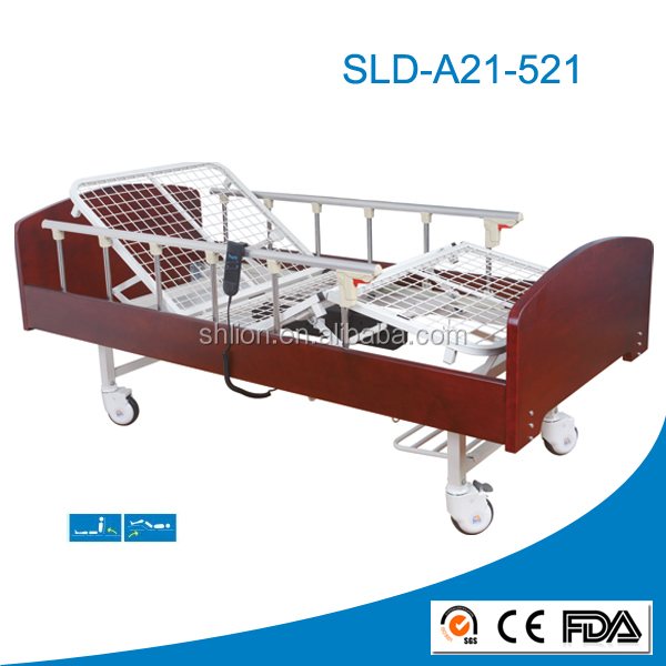 Electric Unique Nursing Healthcare Wooden Home Bed with Aluminum Alloy Side Rails
