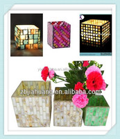 Mirrored Mosaic Square Glass Candle Holder for home decoration